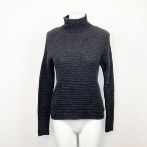 360 Cashmere Grey Ribbed Mock Neck Sweater XS